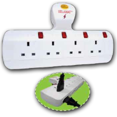 8 Way T-Type Multi Adaptor with Surge Protector 13A 250V MA-8322 (SURGE)
