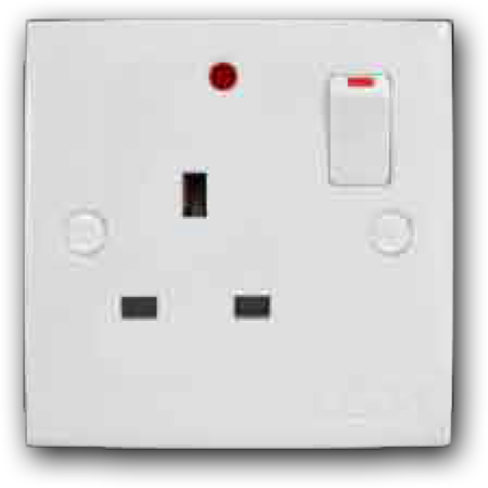 13A 1 Gang Switched Socket Outlet with Neon MS-131L(NEON)