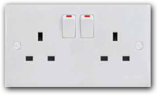 13A 2 Gang Switched Socket Outlet MS-132L