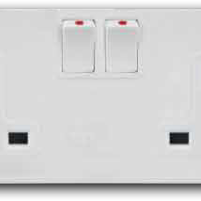 2 Gang Mini-Switched Socket Outlet A-3322