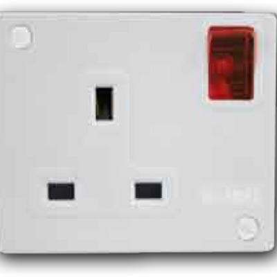 1 Gang Mini-Switched Socket Outlet with Neon Switch A-3321N