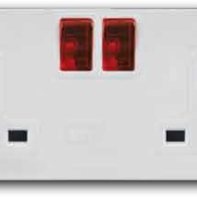 2 Gang Mini-Switched Socket Outlet with Neon Switch A-3322N