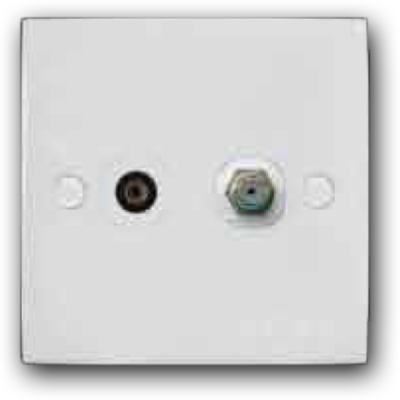 Single Coaxial TV & Cable TV Outlet 2K-102 (TV-S)