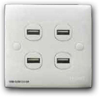 3 Gang USB Power Charging Outlet Single USB Output: 5Vdc(1A) 2K-103 (USB:1A)
