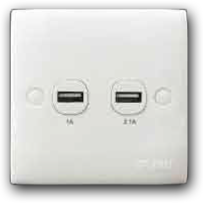 2 Gang USB Power Charging Outlet Single USB Output: 5Vdc(2.1) 2K-102(USB:1A & 2.1A)