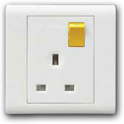 13A 1 Gang Double Pole Switched Socket Outlet with Yellow Rocker 13A 250V MQ 8131-DP (Y/R)