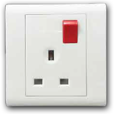 13A 1 Gang Double Pole Switched Socket Outlet with Red Rocker 13A 250V MQ 8131-DP (R/R)