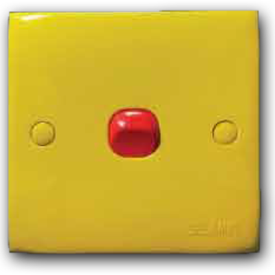 1 Gang 1 Way Switch (Yellow Cover & Red Rocker) 10AX 250V 2K-101 (Y/C-R/R)