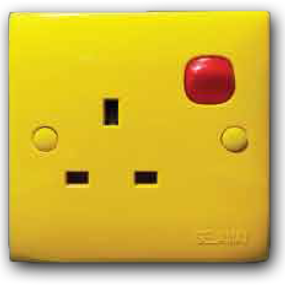 1 Gang Switched Socket Outlet (Yellow Cover & Red Rocker) 13A 250V 2K-131 (Y/C-R/R)