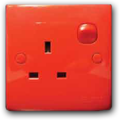 1 Gang Switched Socket Outlet (Red Cover & Red Rocker) 13A 250V 2K-131 (R/C-R/R)