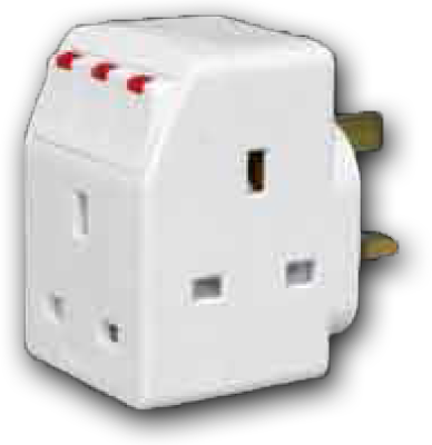 3 Way Multi-Adaptor with LED Switched & 13A Fuse 13A 250V SA-32