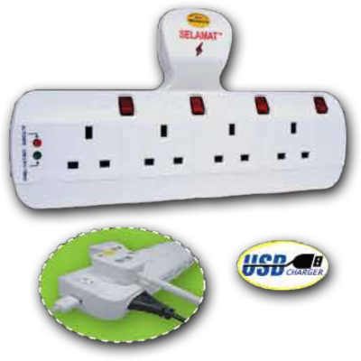 8 Way T-Type Multi Adaptor with USB Charging Port & Surge Protector 13A 250V USB: 5Vdc (1A) MA-8322 (USB& SURGE)