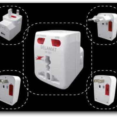Universal Travel Adaptor with Surge Protector & USB Charging Port USB: 5Vdc (1A) 2K-227